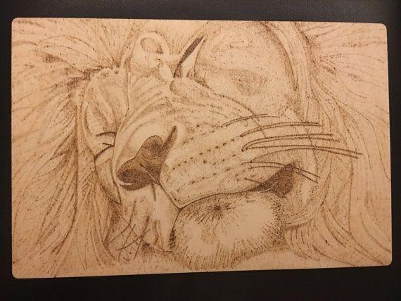 A4ish wood burned sleeping lion plaque. OOAK by BeckysCraftShack