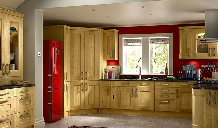 love the wood colour with dark tops and a corner larder. Black Bedroom Furniture Sets. Home Design Ideas