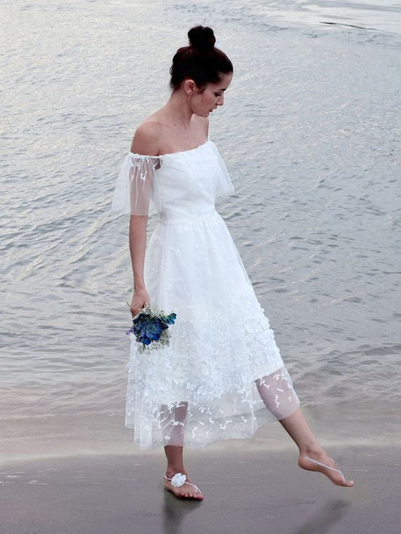 Non Traditional Wedding Dress With Lace And Off Shoulder