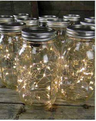 Bote de cristal con luces led y asas para colgar de the - Luces decorativas ikea ...