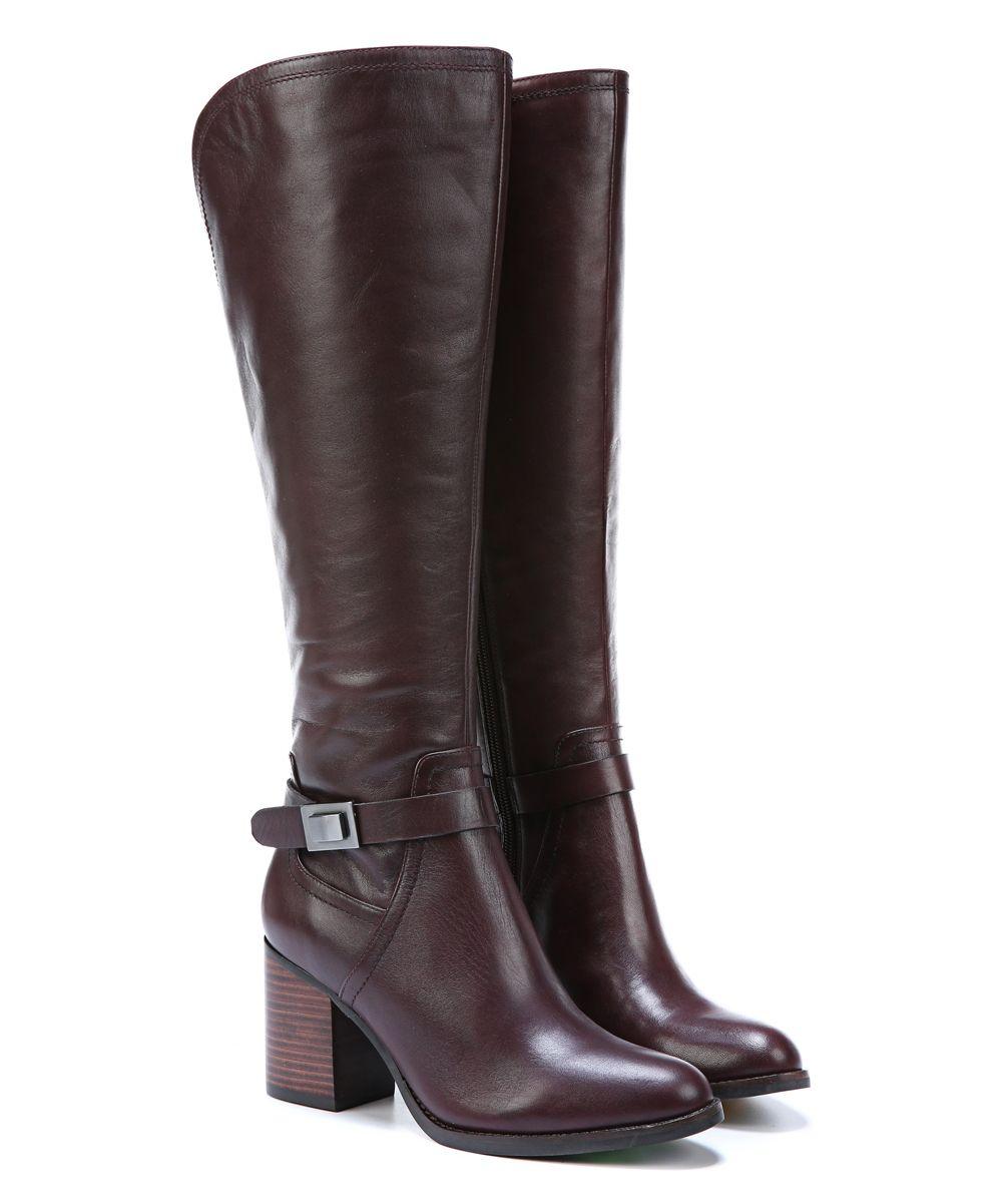Dark Burgundy Arlette Wide-Calf Leather Boot