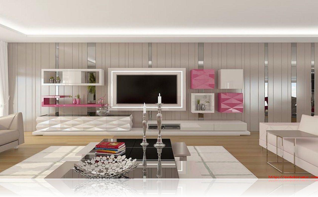 Pembe Turkuaz Mavi Yesil Renkli Ev Dekorasyonlari 2015 Ev Dekorasyonu Deco Meuble Tv Mobilier De Salon Meuble Tv Placo