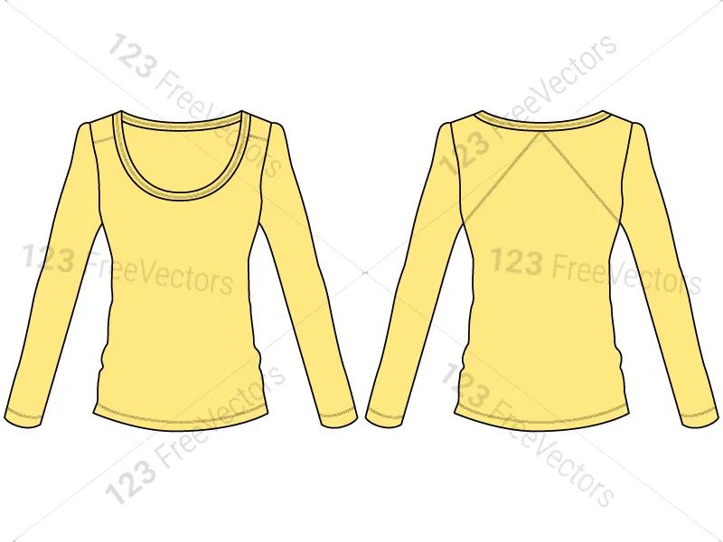 Download Women S Long Sleeve T Shirt Template Vector And Psd Pack 01 Long Sleeve Shirt Template Sleeves
