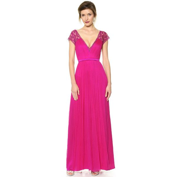 Catherine Deane Vitalia Open Back Cap Sleeve Gown - Fuschia | Style ...