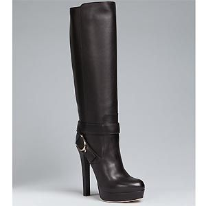 565fe816009 Gucci Black Leather Stirrup Platform Tall Boots - Sale