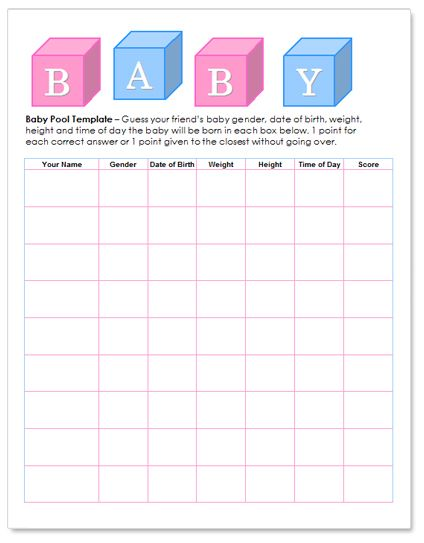 Baby Shower Betting Pool Template  Free HttpWwwWorddrawCom