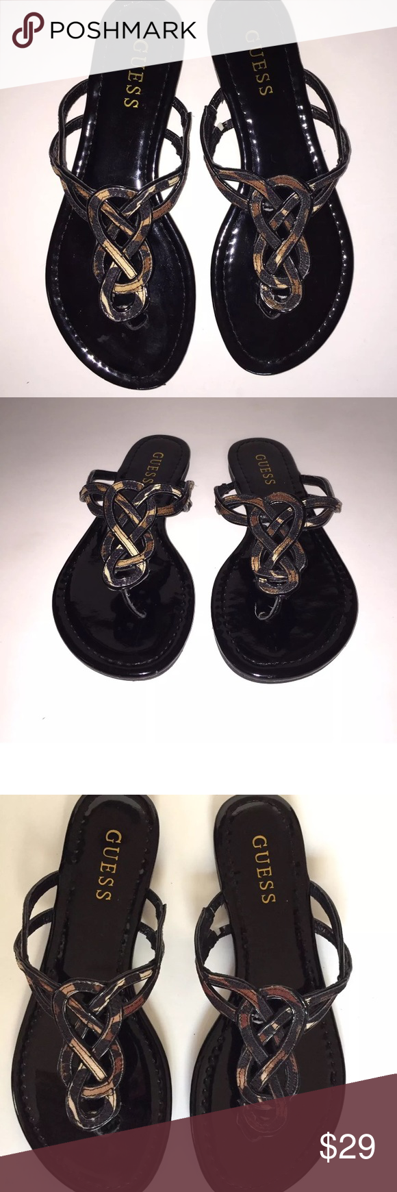 Guess Sandals Flip Flops Black Brown 7m