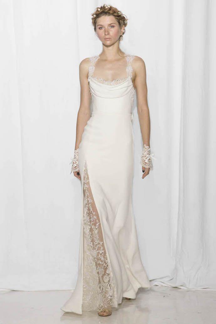 Slinky Silk & Lace Wedding Dress from Reem Acra's 2017 Bridal Colleciton