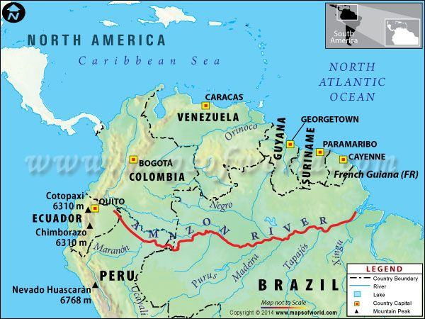 Amazon River Travel Information Map Facts Location Best Time - World map showing amazon river