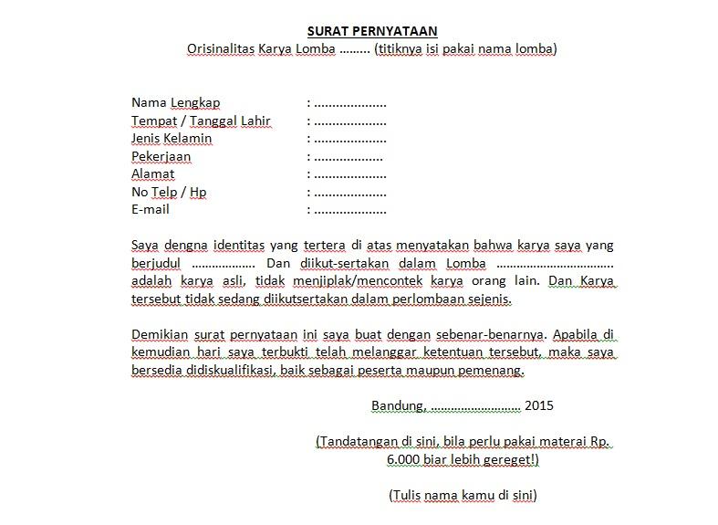 Contoh Surat Pernyataan Orisinalitas - Download Kumpulan ...