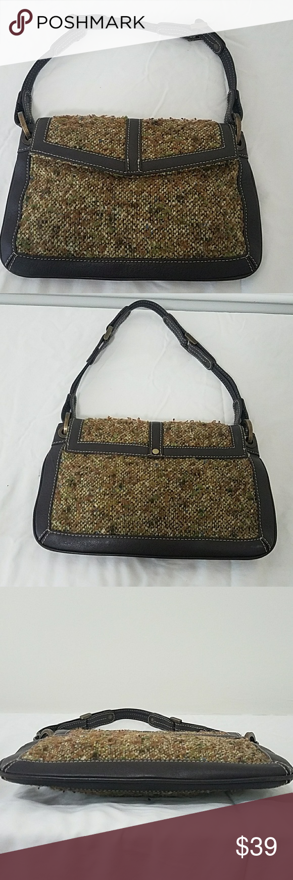 315b08d4e1 J CREW Tweed and Leather Demi bag Leather and Tweed bag by J CREW. Magnetuc