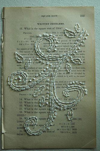 embroidery on book pages by jessica of the blog paper stitch.