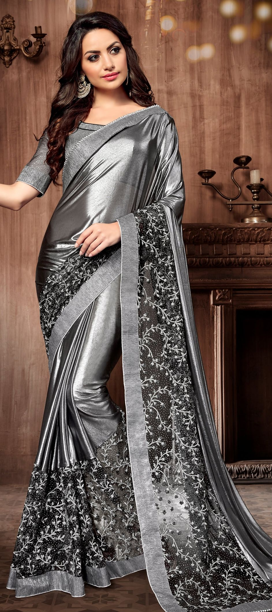 1bc15eeadf 764773 Black and Grey color family Embroidered Sarees,Party Wear Sarees in  Lycra,Net fabric with Machine Embroidery,Resham,Thread work with matching  ...