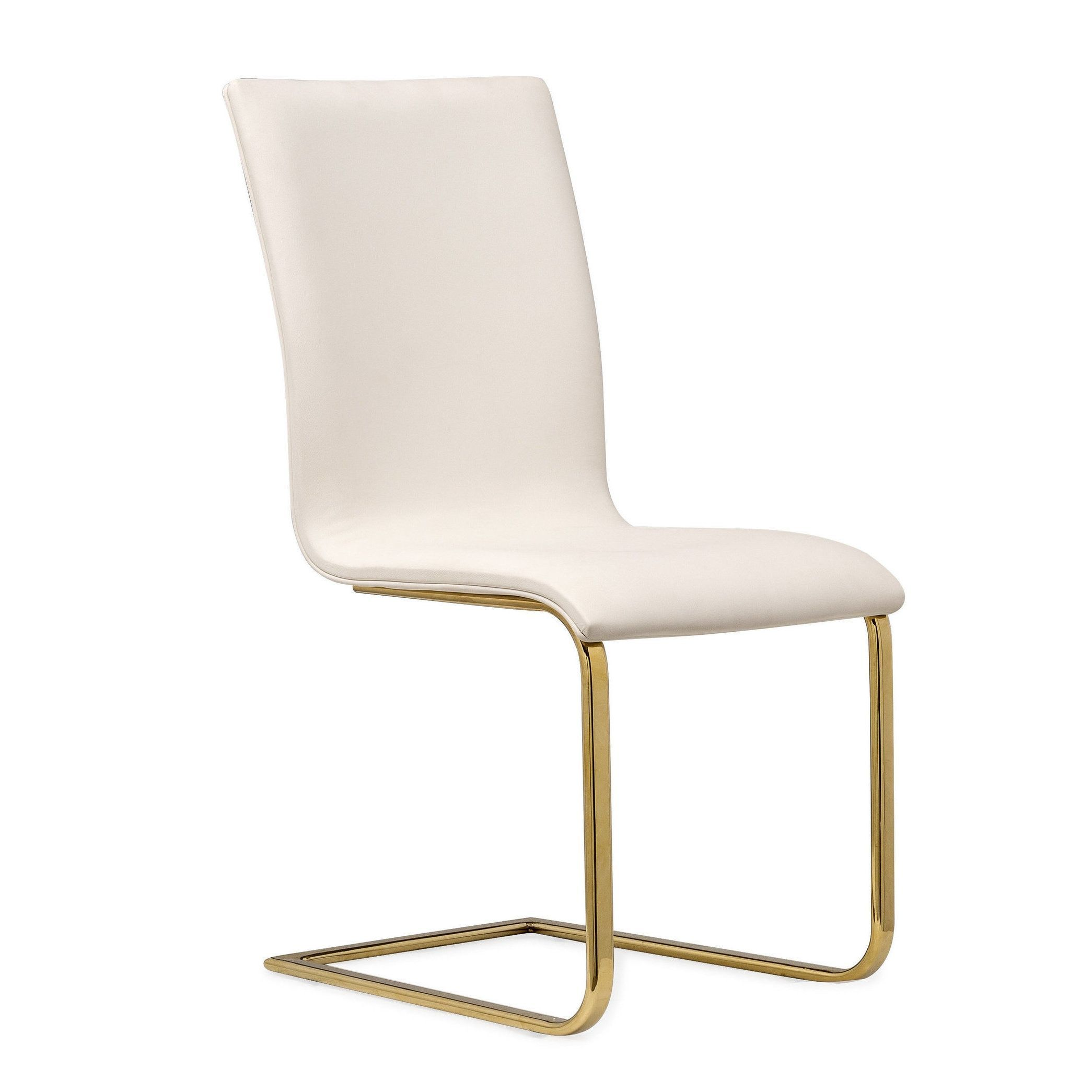 TOV Furniture Maxim White Faux Leather/Steel/Wool Dining Chair (Maxim White