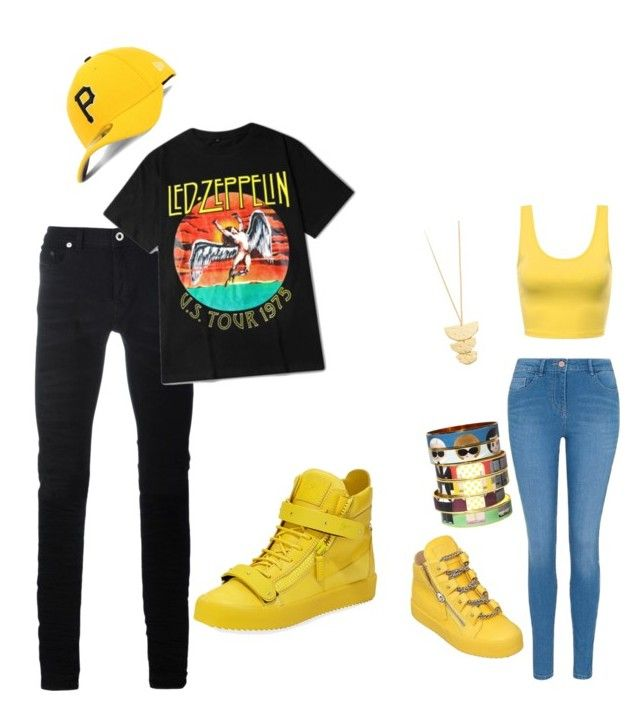 """""""Cmon bay"""" by supaflyky-mommy on Polyvore featuring Diesel Black Gold, Giuseppe Zanotti, George, Bijoux de Famille, Gorjana and New Era"""