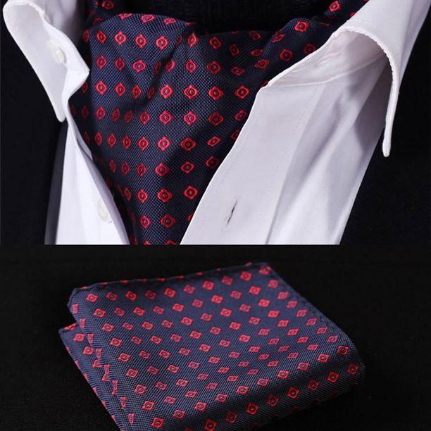 Ascot - Red Navy Blue Silk Ascot Cravat and Handkerchief Set - $48.99 Only @runit365 #ascot #stylish