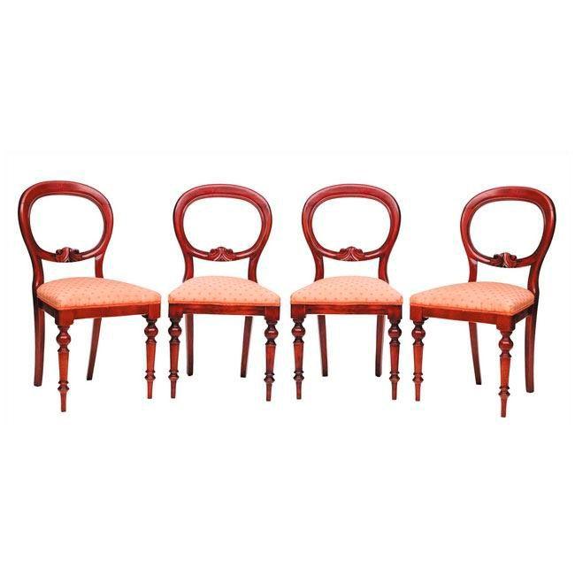 4 SILLAS ESTILO VICTORIANO Lote de 4 sillas estilo victoriano en ...