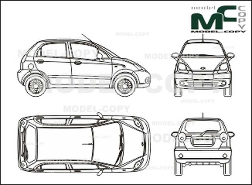 Chevrolet Matiz 2005 2d Drawing Blueprints Model Copy Ford Focus Blueprints Chevrolet Spark