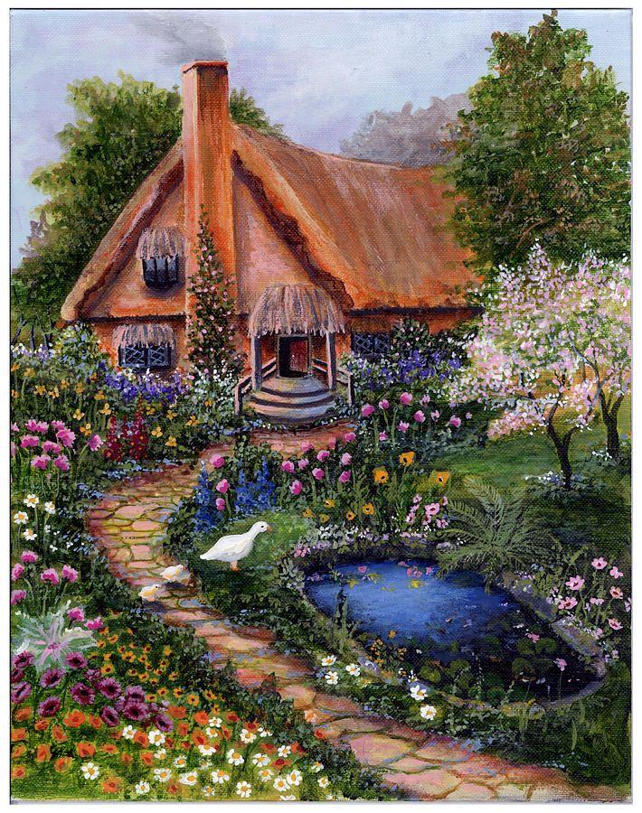 old cottage canvas print canvas art by bonnie cook cottage garten malen nach zahlen und gem lde. Black Bedroom Furniture Sets. Home Design Ideas