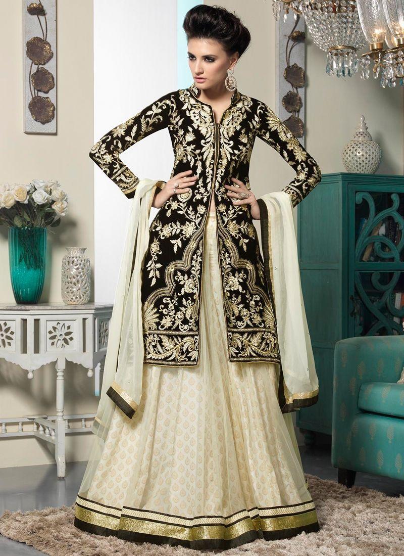 83bfd4217e4f Off White And Black Net Lehenga Choli | Wedding Lehenga Choli | Bridal  Lehenga Choli | Designer Lehenga Choli | Item Code: 4353
