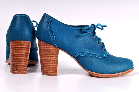 LACE. Leather Oxford Shoes / Teal Leather Lace Up Boots