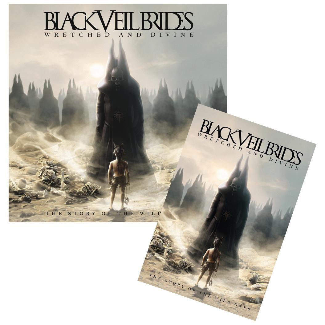 """Black Veil Brides """"Wretched and divine: The story of the wild ones"""" -erikoisversio.    EMP:n setissä mukana seinälippu (100% polyesteria, koko 50 x 75 cm). Tätä pakettia et löydä muualta!"""