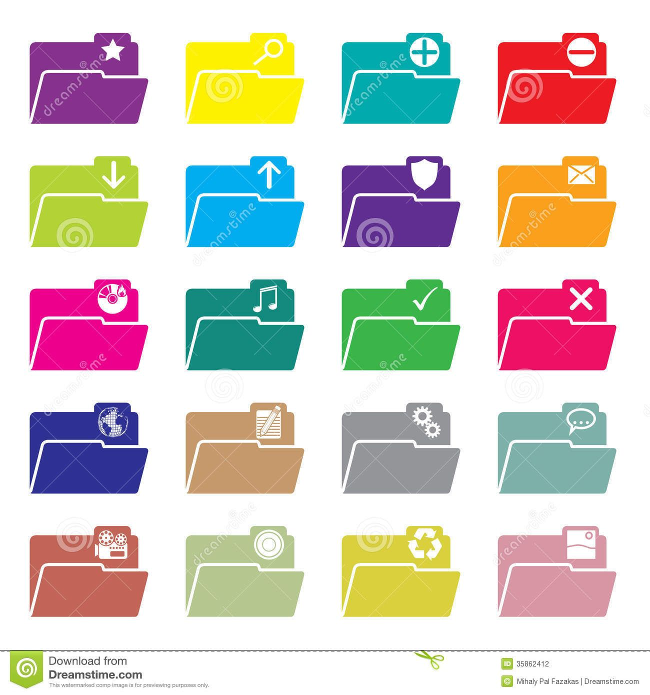 Flat Folder Icon Set Of 20 Stock Photography Image