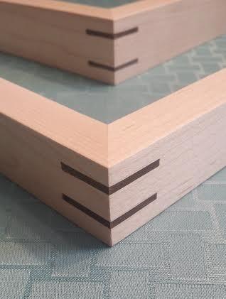 Maple frames with walnut splines. | Cap & Flat Picture Frames ...
