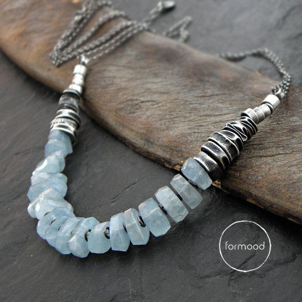 Necklace is made of oxidized silver 925 and natural blue aquamarines in form of nuggets, their size is approx. 0.31 – 0.39 x 0.24 inches / 8 – 10 x 6 mm  Dimensions: Necklaces circuit is adjustable: 17.72 + 1.57 inches / 45 + 4 cm Ready to ship  We pack all the items in corporate boxes (visible in some offers). We ship all the consignments as priority registered consignments in well protected cartons.  Thank you for visiting
