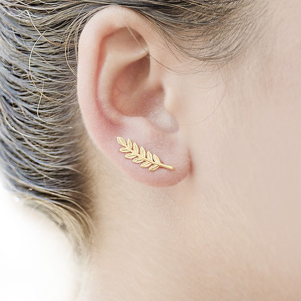 Leaf Feather Silver Colour Climbers Crawlers Sweep Cuff Hook Earrings for Pierced Ears meMNCXT