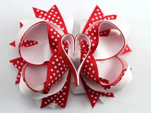 deluxe 5 red white heart valentine