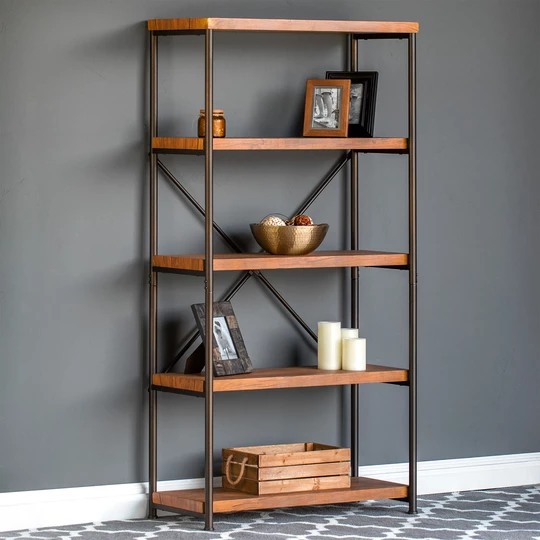5 Tier Industrial Bookshelf W Metal Frame Wood Shelves Wood Shelves Interior Design Living Room Tidy Room