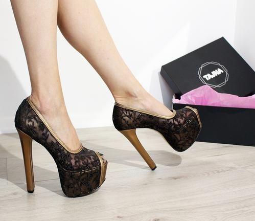 689e0415e8a3 Golden Black Lace Elegant High Heel Platform Shoes  Platformhighheels