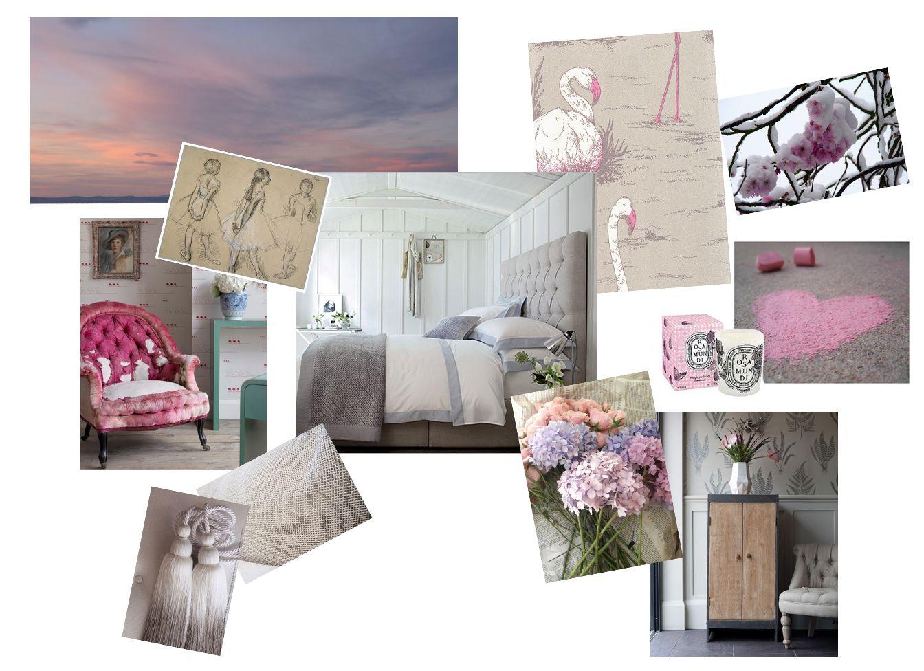 Mood board pink and grey bedroom Spare room, Bedroom