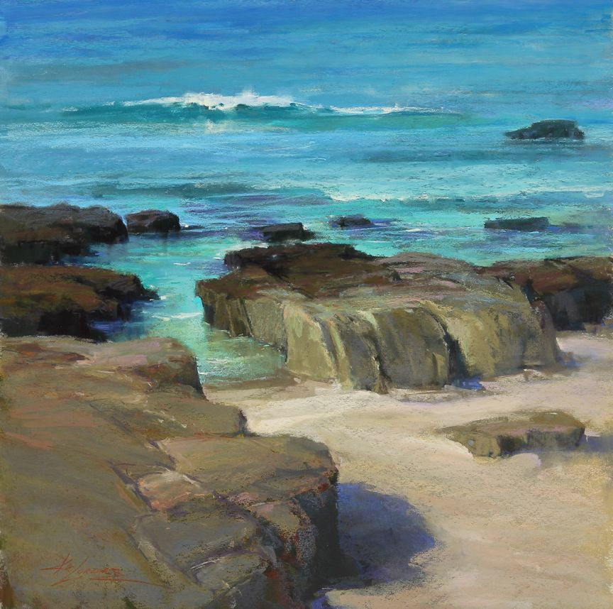 Rock'n Water by Kim Lordier Pastel ~ 20 x 20