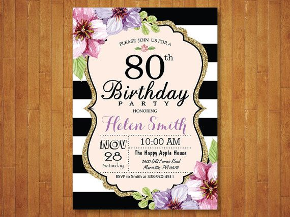 80th Birthday Invitation For Women Purple Watercolor Floral Black And White Stripes 40th 50th 60t