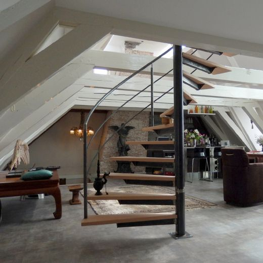 Brede stalen wenteltrap met houten treden swt67 trappen for Houten wenteltrap