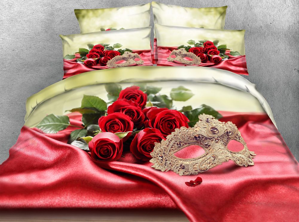3d red rose bedspread queen king twin 500TC cotton floral