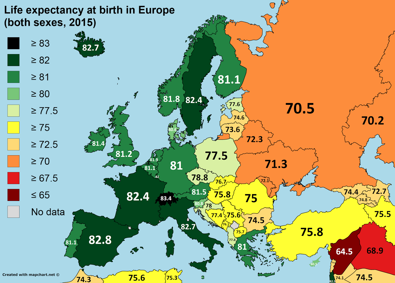 map of europe 2015 Life expectancy at birth in Europe (2015) | Geography map
