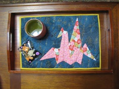 Japanese Paper Crane Quilted Mug Rug by My Quilt Diary