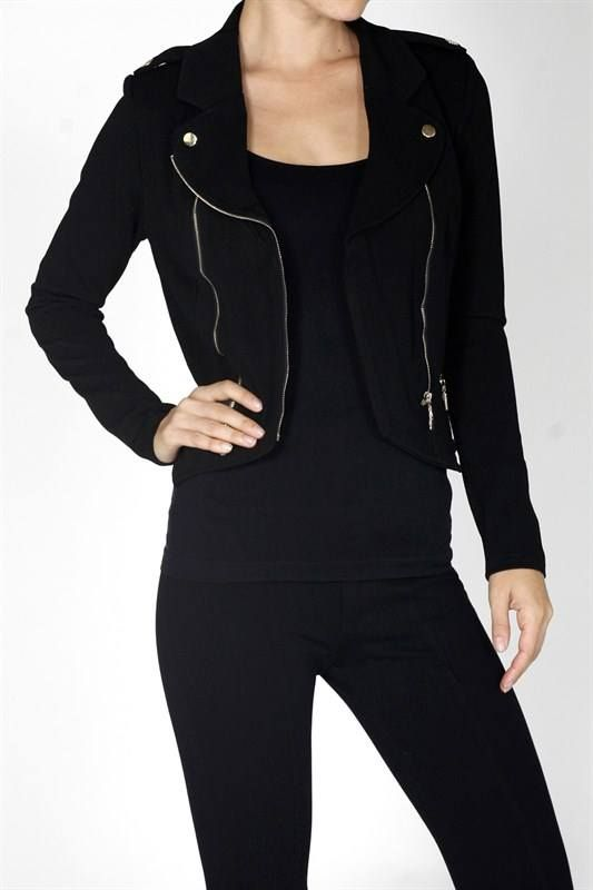 Black crop biker jacket $22
