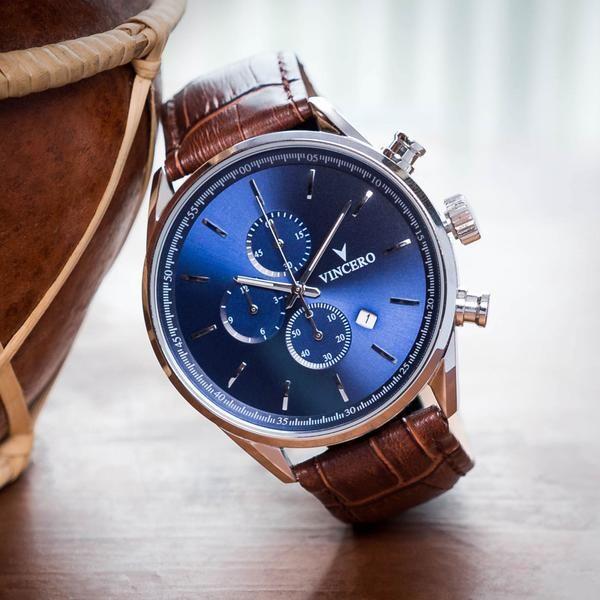 44daf736a2b Men s Luxury Chrono S Chronograph Watch Mocha Brown Croc Italian Leather  Strap Band Blue Watch Face Silver Case Clasp