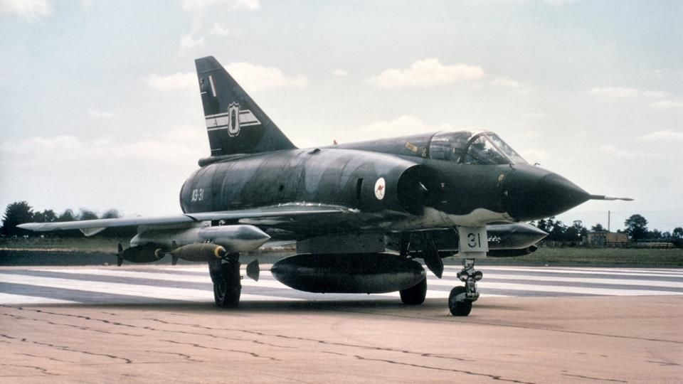 Dassault Mirage IIIO A3-31 of 77 Squadron Royal Australian Air Force taxis out towards the Duston Bombing Range. 1978