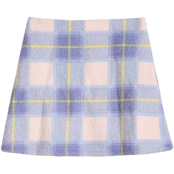 Check Print Pocket Blue Skirt (€13) ❤ liked on Polyvore featuring skirts, bottoms, blue, blue knee length skirt, checkerboard skirt, pocket skirt, blue wool skirt et blue skirt