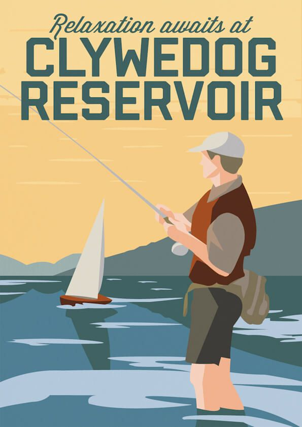 Old school retro art deco travel poster - #clywedog #lake ...