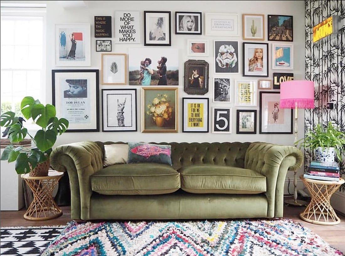 Eclectic Gallery Walls • Upcycled Glam Home Tour • Little Gold Pixel |  Bohemian style living room, Living room remodel, Small room design