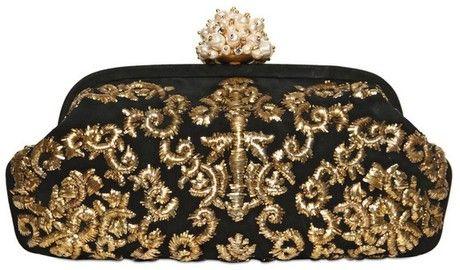 24b451b5f7 Dolce   Gabbana Miss Dea Embroidered Suede Clutch