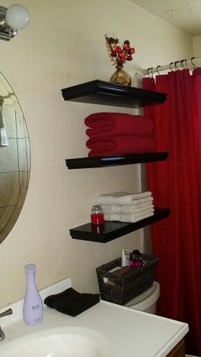 Floating bathroom shelves from Home Depot. Comes with everything you need to install, 19$ each.