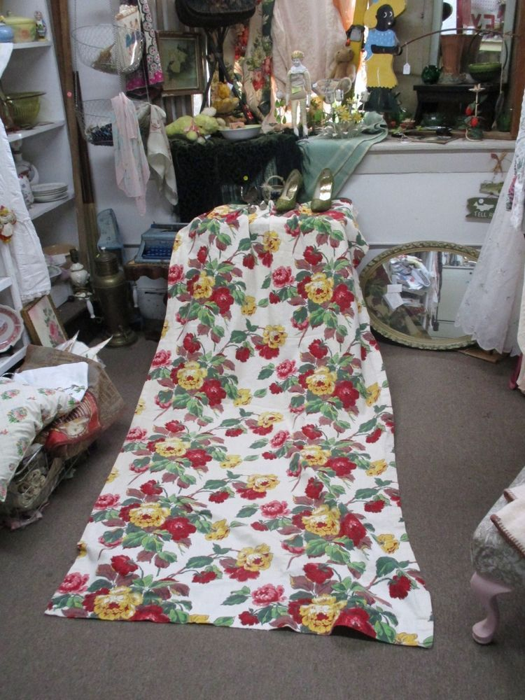 Vintage Barkcloth Roses Curtain Panel 41 x 82 White Fabric