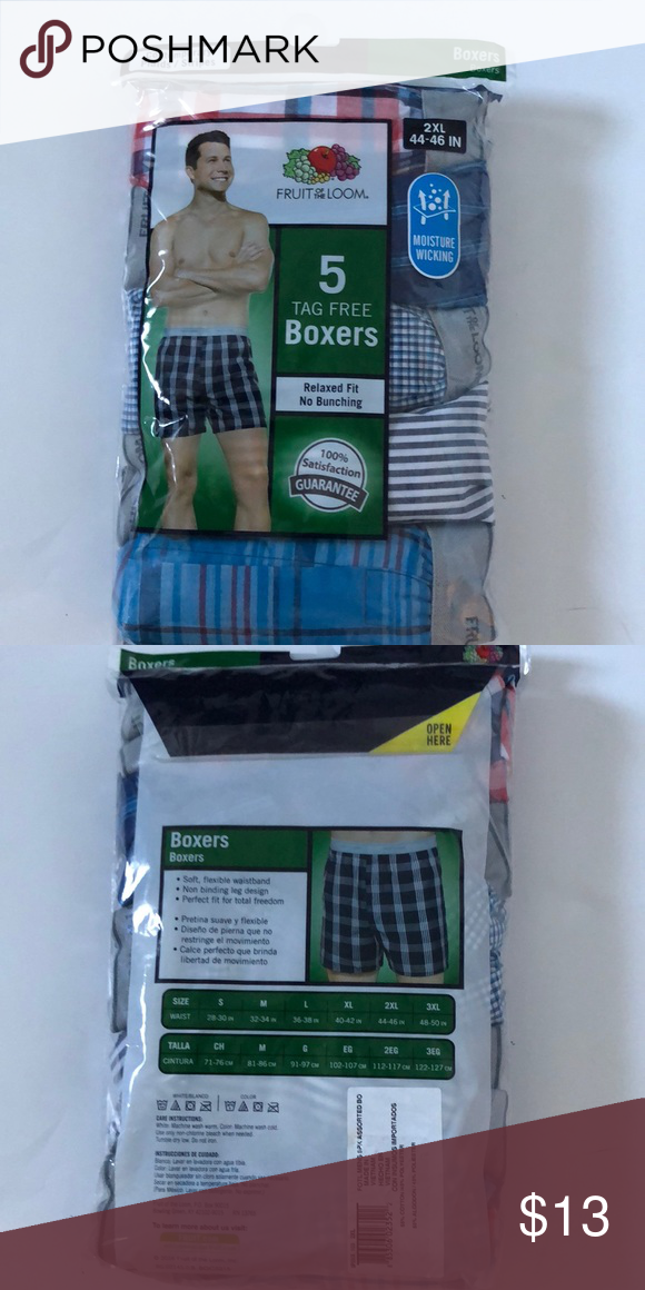 Fruit of the Loom Men's Boxers 5 pack tag free 2XL NWT